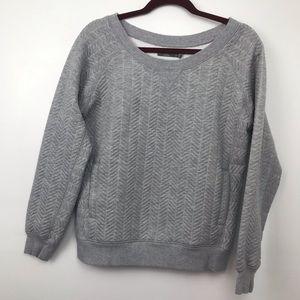 Prana Gray Herringbone Quilted Sweatshirt